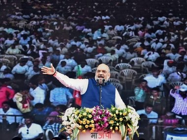 Amit Shah speaking at the BJP's foundation day event on Friday. PTI
