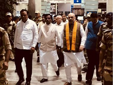 BJP chief Amit Shah arrives at Mumbai airport. Image procured by Sanjay Sawant/Firstpost