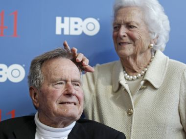 File image of former US President George HW Bush with first lady Barbara Bush. AP