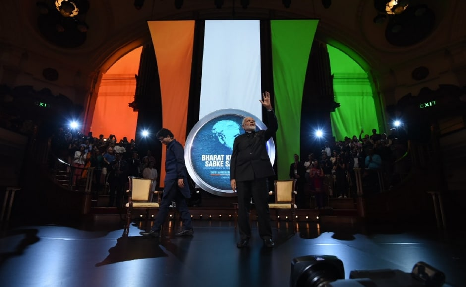 Prime Minister Narendra Modi addressed an interactive session with the Indian diaspora 'Bharat ki Baat, Sabke Saath' at the historic Central Hall Westminster in London on Wednesday. Twitter@narendramodi