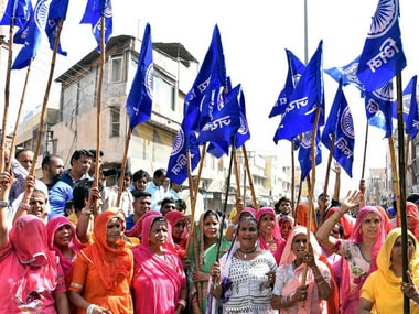 Members of the Dalit community protest against the Atrocities Act in Bikaner. PTI