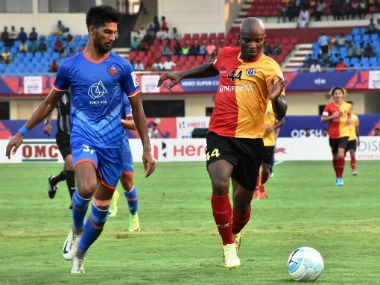 East Bengal's Dudu Omegbemi (R) in action against FC Goa in the Super Cup semi-final. Twitter/@IndianFootball