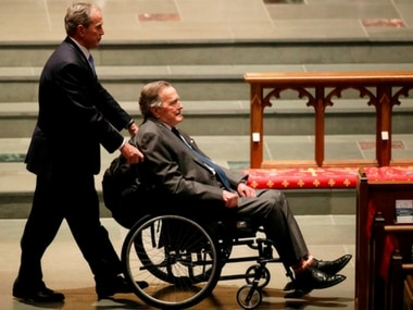 Day after wife Barbara's funeral, George HW Bush hospitalised with blood infection; ex-president 'appears to be recovering', says spokesman