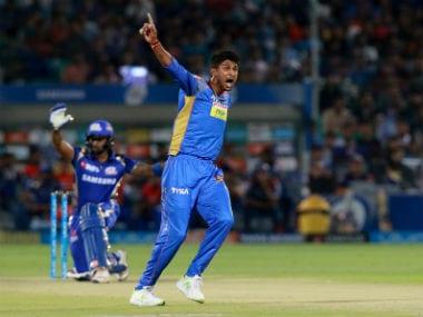 Rajasthan Royals' Krishnappa Gowtham appeals in an IPL 2018 match against Mumbai Indians in Jaipur. Sportzpics