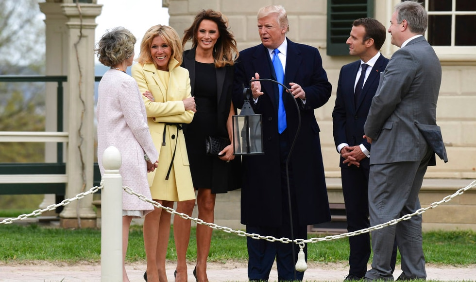 Donald Trump talks to Sarah Miller Coulson Regent of Mount Vernon Ladies Association, as he is joined by Brigitte Macron, Melania Trump, Emmanuel Macron and Doug Bradburn, president and Chief Executive Officer of George Washington's Mount Vernon.