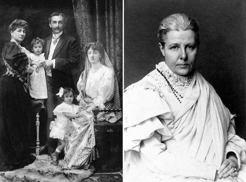 (L) Portrait of Sooni Tata nee Suzanne Brière with family; (R) Annie Besant. Photos courtesy Indian Videshinis/Roli Books