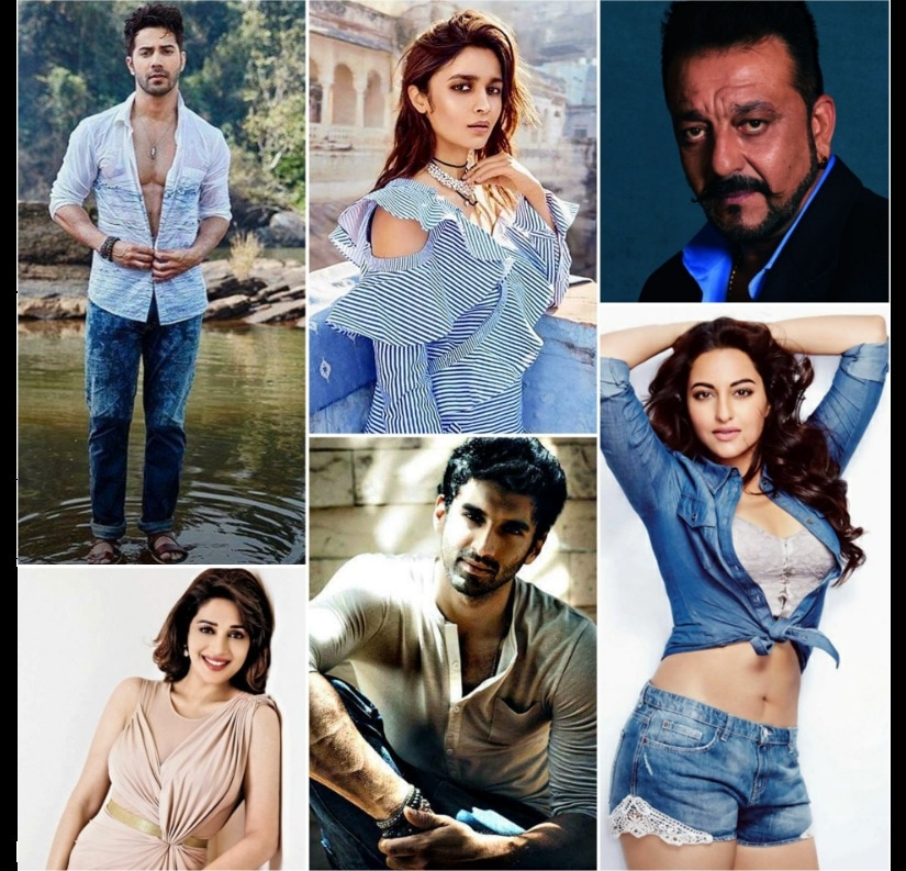 Varun Dhawan, Alia Bhatt, Sanjay Dutt, Madhuri Dixit, Aditya Roy Kapoor and Sonakshi Sinha will come together for Kalank. Image from Twitter/@Rahulrautwrites