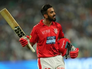 KL Rahul of Kings XI Punjab walks back after being dismissed against Kolkata Knight Riders. IPL/SPORTZPICS