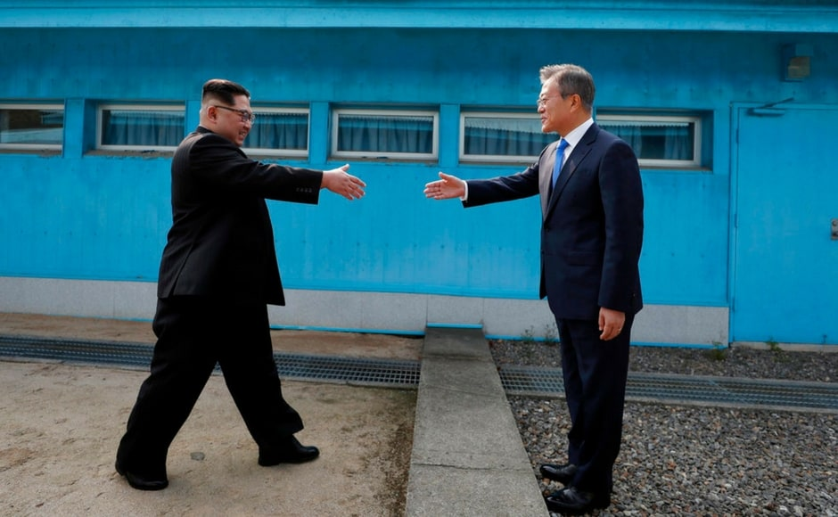 Kim earlier stepped into the southern side of a border truce village of Panmunjom to become the first North Korean leader to set foot in the South since the 1950-53 Korean War. AP