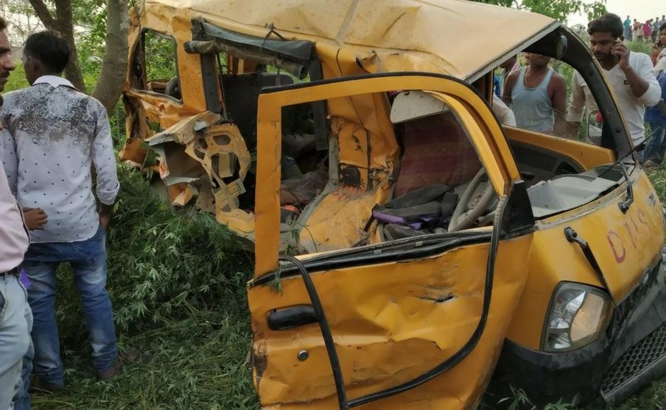 Thirteen children, aged between 7 and 11, were killed on Thursday when a train rammed into their school van at an unmanned railway crossing in Uttar Pradesh's Kushinagar area, around 50 kilometres from Gorakhpur. Surya Prakash Rai/Team 101Reporters