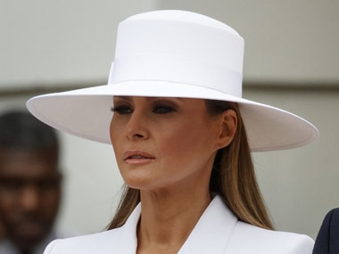 US First Lady Melania Trump at a reception for the visiting French President and his wife. AP