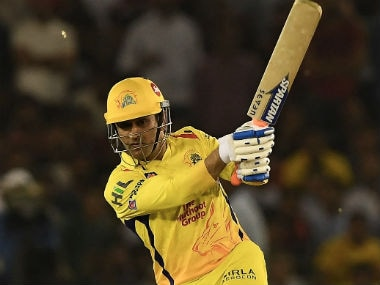 CSK captain MS Dhoni plays a shot during IPL 2018 against Kings XI Punjab in Mohali. AFP
