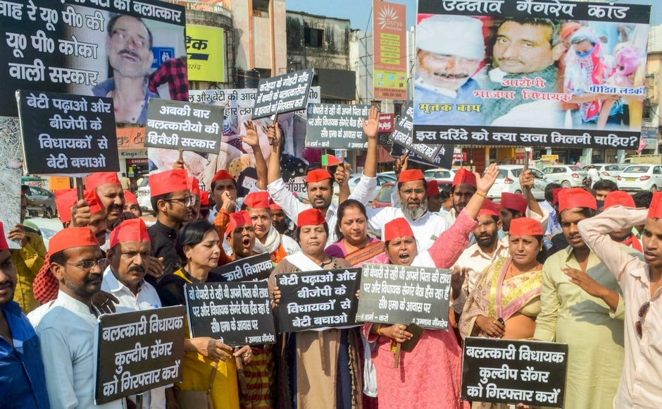Samajwadi Party activists also raised slogans against the Uttar Pradesh government during a protest over Unnao rape case in Allahabad on Thursday. PTI