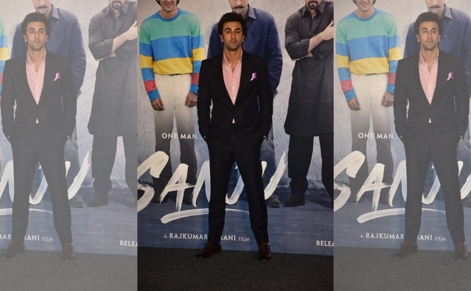 Ranbir Kapoor, who is playing Sanjay Dutt in the senior actor's biopic, attended the teaser launch of Sanju.