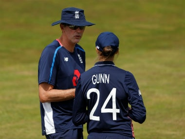 England women's coach Mark Robinson speaks to Jenny Gunn. Reuters