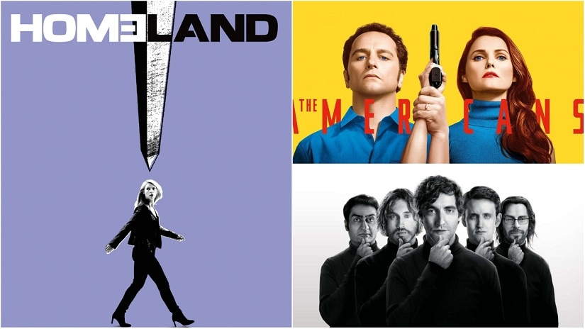 (Clockwise from above left) Posters for Homeland, The Americans, Silicon Valley