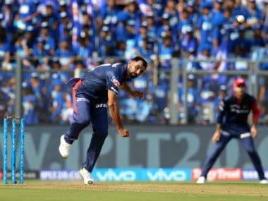 Mohammad Shami bowls during Delhi Daredevils' IPL 2018 against Mumbai Indians at the Wankhede Stadium. Sportzpics
