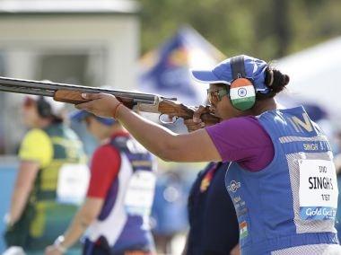 Shreyasi Singh shoots during the women's double trap final in Brisbane. AP