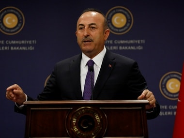 Turkish foreign minister speaking to the media. Reuters