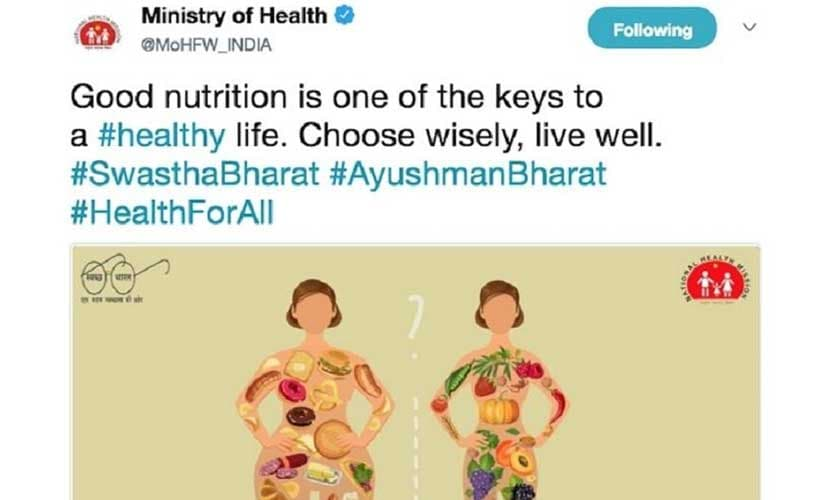 File image of a tweet by the Ministry of Health and Family Welfare, which was later deleted. Twitter@MoHFW_INDIA