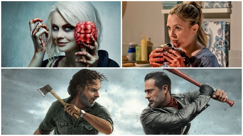 (Clockwise from top left) Stills from iZombie, Santa Clarita Diet, The Walking Dead