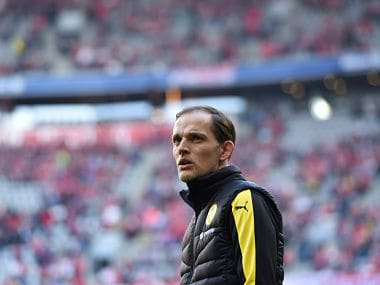 (FILES) In this file photo taken on April 8, 2017 Dortmund's headcoach Thomas Tuchel stands in the stadium prior the German First division Bundesliga football match Bayern Munich vs Borussia Dortmund in Munich. Thomas Tuchel has been appointed as the new coach of Paris Saint-Germain on a two-year deal, the French champions confirmed on May 14, 2018. The German has agreed to succeed Unai Emery, who will leave after the final game of the French season this weekend. / AFP PHOTO / Christof STACHE