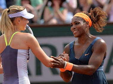File image of Maria Sharapova (R) with Serena Williams. AFP