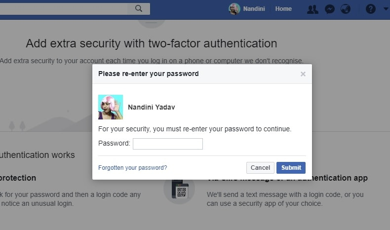 Re-enter password to enable the two factor authentication process.