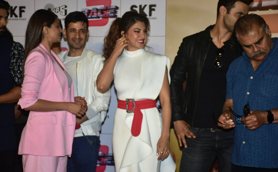 Jacqueline Fernandez and Daisy Shah at the trailer launch event in Mumbai.