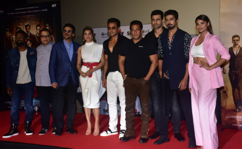 The cast of Race 3 at the trailer launch event in Mumbai.