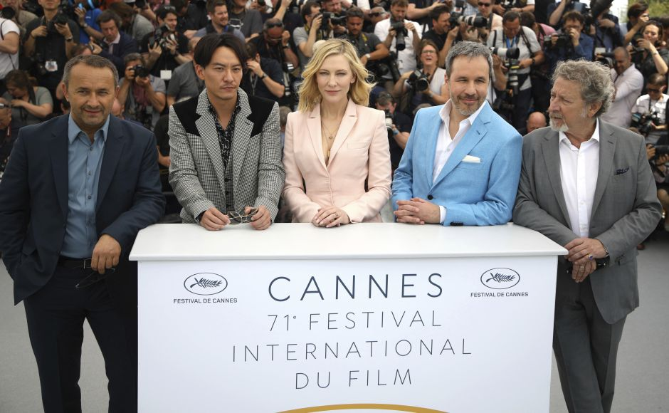 (From L-R) Andrey Zvyagintsev, Chang Chen, Cate Blanchett, Denis Villeneuve and Robert Guediguian pose for photographers during a photo call for the jury at the 71st international film festival, Cannes. Photo by Vianney Le Caer/Invision/AP