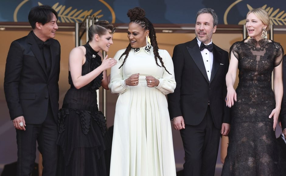(From L-R) Jury members Chang Chen, Kristen Stewart, Ava DuVernay, Denis Villeneuve and Cate Blanchett pose for photographers upon arrival at the opening ceremony of the 71st international film festival, Cannes. Photo by Arthur Mola/Invision/AP