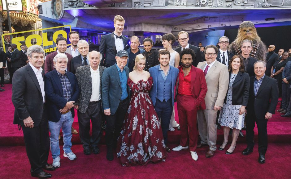 The cast of Solo: A Star Wars Story arrive at the world premiere in Los Angeles. Photo by Colin Young-Wolff/Invision for Nissan North America/AP Images)