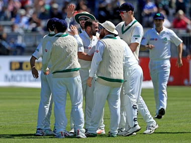 Ireland celebrate taking the wicket of Pakistan's Haris Sohail on day two of the International Test Match at The Village in Dublin, Saturday May 12, 2018. (Donall Farmer/PA via AP)