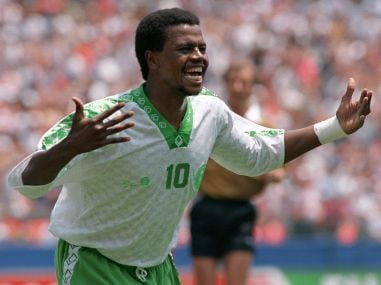 File photo of Saudi Arabia's Saeed Owairan celebrating after scoring during the World Cup first round match against Belgium. AFP