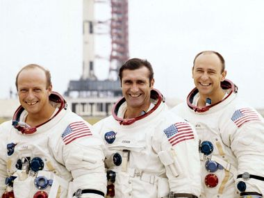 UNDATED FILE PHOTO - The crew for the Apollo 12 manned lunar landing mission, from left; Charles