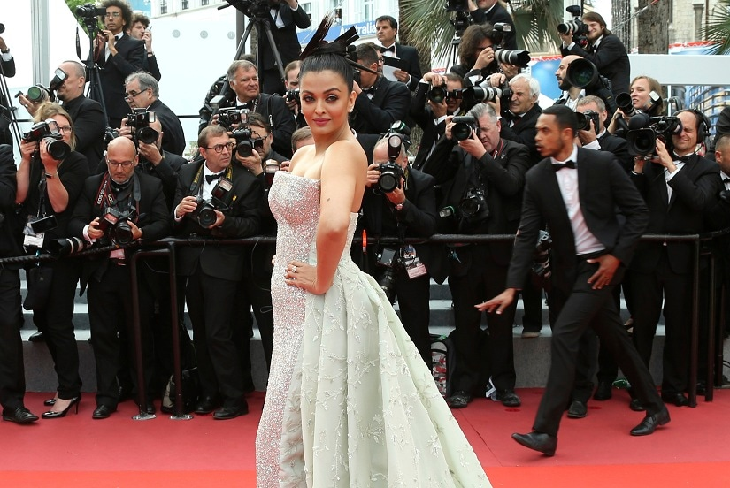 Actress Aishwarya Rai poses for photographers upon arrival at the premiere of the film 'Sink or Swim' at the 71st international film festival, Cannes, southern France, Sunday, May 13, 2018. (Photo by Joel C Ryan/Invision/AP)