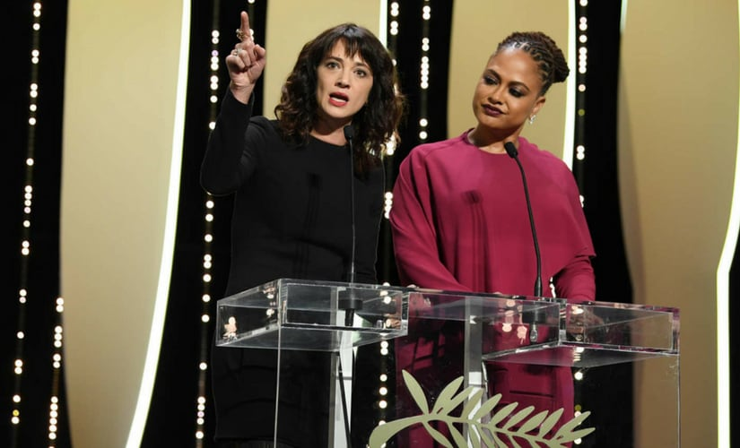 Asia Argento during her 2018 Cannes speech/Image from Twitter.