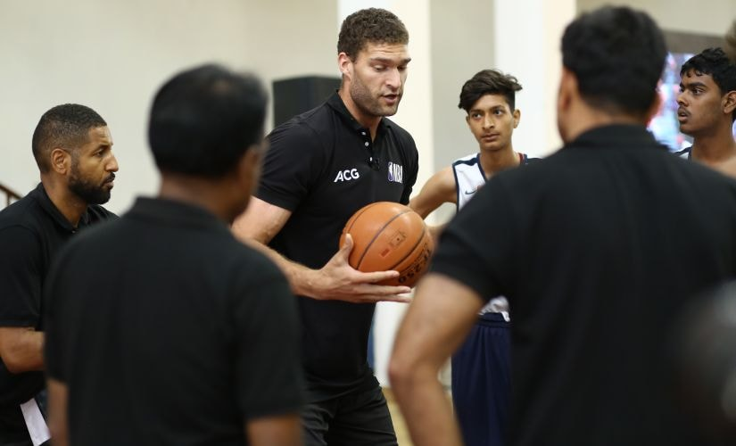 Brook Lopez interacts with NBA Academy India wards during his visit to New Delhi recently