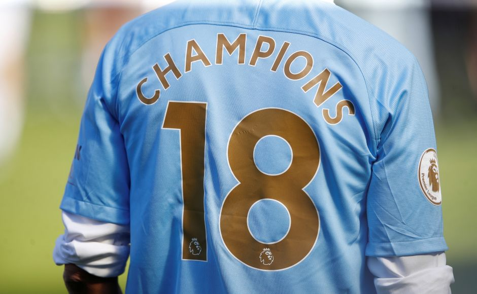 The shirt of Manchester City manager Pep Guardiola as he celebrates winning the Premier League title. City couldn't mark the occasion with a potentially record-breaking win but it didn't stop them basking in the glory of a stylish and runaway title triumph that was clinched in record-equaling time two weeks ago. Reuters