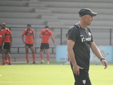 File image of Indian football hed coach Stephen Constantine involved in a training. AIFF