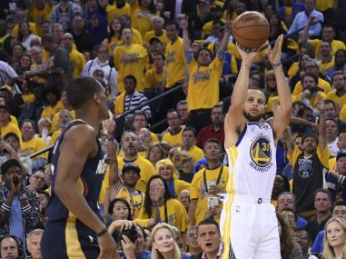 Golden State Warriors guard Stephen Curry (30) shoots against New Orleans Pelicans. Reuters