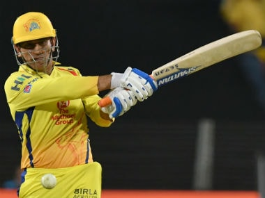 MS Dhoni plays a shot during Chennai Super Kings' match against Delhi Daredevils. AFP