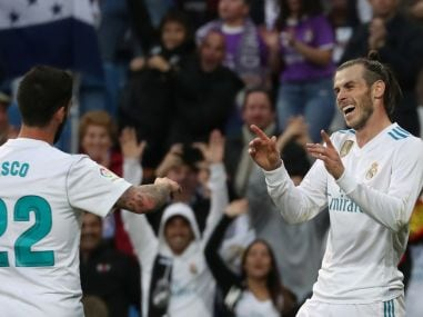 Gareth Bale celebrates after scoring Real Madrid's second goal with Isco. Reuters