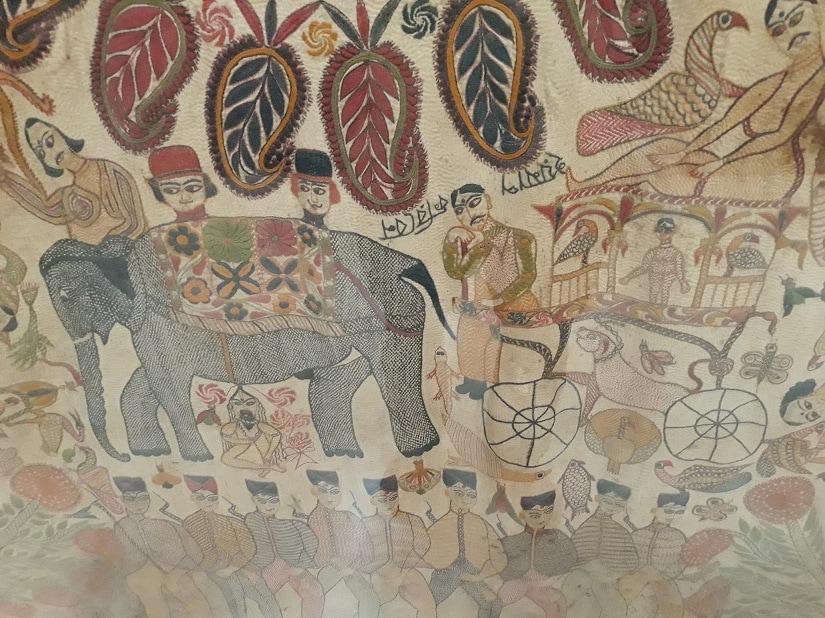 Kantha detail with elephant phaeton