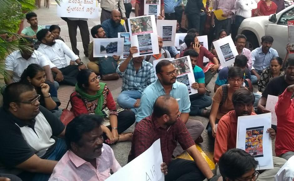 A protest was held outside Vedanta office, Prestige Meridian on MG Road in Bengaluru at 3.30 pm against police firing in Thoothukudi. 101 Reporters
