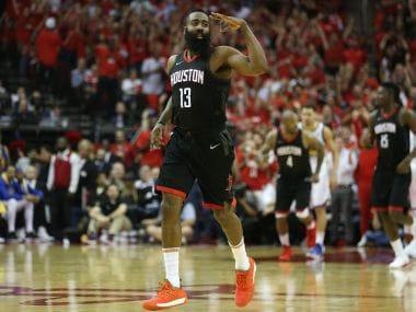 Houston Rockets' James Harden reacts after scoring against the Golden State Warriors. Reuters