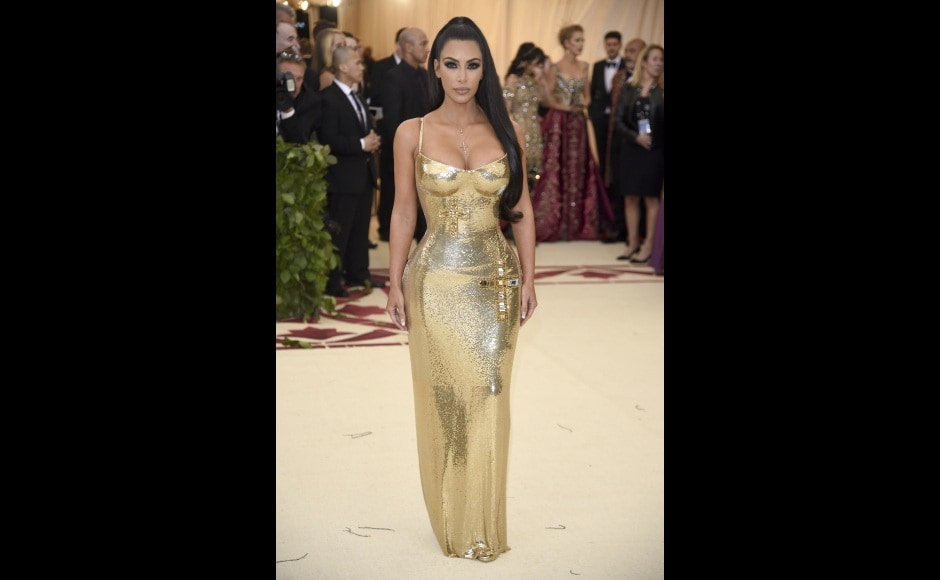 Kim Kardashian attends the Met Gala celebrating the opening of the Heavenly Bodies: Fashion and the Catholic Imagination exhibition in New York. Photo by Evan Agostini/Invision/AP