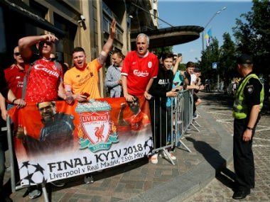 Liverpool fans outside the team hotel in Kiev. Reuters