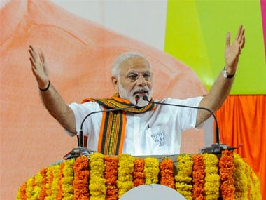Prime Minister Narendra Modi addressing at an election campaign rally in Mangaluru, Karnataka on Saturday. PTI